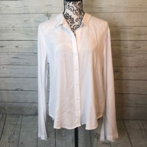 Cloth & Stone White Button Up Open Back Bell Sleev